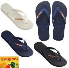 Havaianas Metallic Logo Navy Black White Flip Flops Brazil thongs sandals METAL