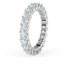 F/VS  1.00 Ct U Prong Round Diamond Full Eternity / Wedding Ring 18K White Gold