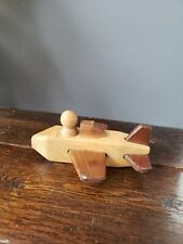 Small Handmade Wooden Toy  Airplane Jet Wood Classic with figure two tone