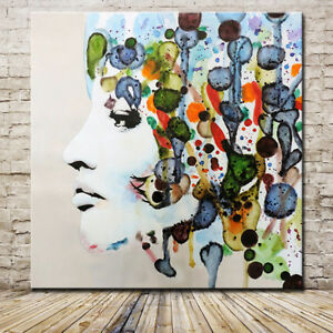 Large Hand painted Flower Abstract Girl Oil Painting On Canvas Wall Art 90x90cm