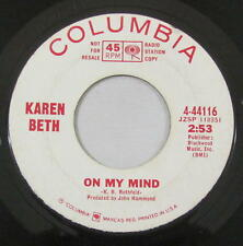 Karen Beth 45rpm Columbia PROMO 4-44116 Farewell & Be Well/On My Mind FOLK ROCK