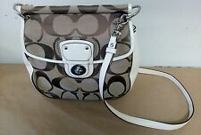 COACH 19034 White & Khaki Leather Large Crossbody Swingpack Purse Willis Satchel