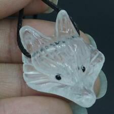 "1.37"" Fox Head Clear Quartz Stone Animal Pendant Carved Necklace Jewelry2573"