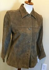 CLIO Olive Moss Green Suede Leather Jacket Coat, New With Tags NWT