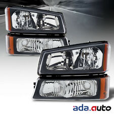 2003-2006 Chevy Silverado 1500 2500 3500 Black Signal Bumper Headlights Pair