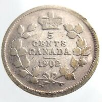 1902 Canada 5 Cents Small Silver Circulated Canadian Edward VII Coin P043