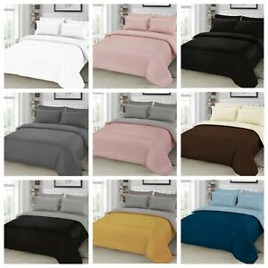 Plain Duvet Quilt Cover with Pillowcase Fitted Sheet Bedding 4 pcs Set All Size
