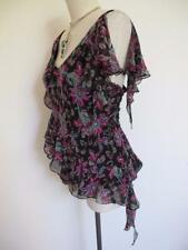 Vintage Sean Collection Beaded Paisley Silk Top L Xl Draped Asymmetrical Ruffles