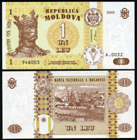 Moldavie 1 Leu. NEUF 2002 Billet de banque Cat# P.8e
