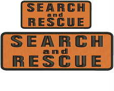 Search and Rescue embroidery patches 3x8 and 2x5 hook on back orange