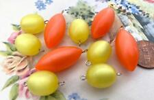 Vintage Orange Yellow Lucite Moonglow Connector Beads Charms Mix 10