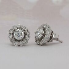 14K White Gold Halo Stud Jacket Earrings 1.07 Carats Total Round Diamonds