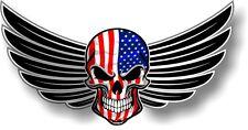 WINGED Biker SKULL wings American Stars & Stripes US Flag car bike sticker Decal