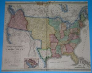 1837 UNUSUAL ORIGINAL MAP TEXAS REPUBLIC CALIFORNIA WASHINGTON UNITED STATES