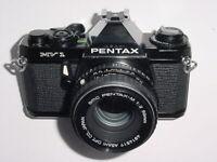 Pentax MV 1 35mm Film SLR Manual Camera with Pentax-M 50mm F/2 SMC Lens * EX++
