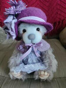 """Bear Treasures """"Devana""""  OOAK Mohair purple artist bear by Melanie Jayne"""