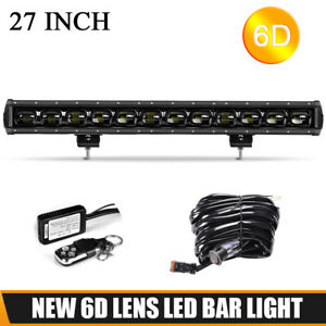 27inch LED Light Bar Flood 120W Work Fog Driving Lamp SUV ATV 4WD Wiring Harness