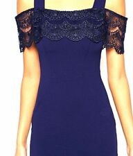 BNWT LIPSY BLUE CAMI LACE OVERLAY DRESS WITH LACE DETAIL BARDOT STYLE  SIZE 10
