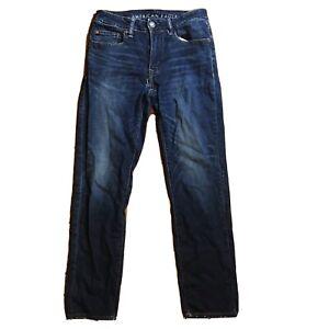 American Eagle Slim Straight Next Level Flex Blue Jeans Men Size 28x30 Holes