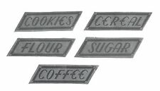 5 HOCKING CANISTER Replacement Silver Foil LABELS-Match Originals - LABELS ONLY