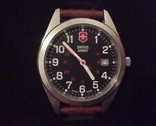 Swiss Army Victorinox  100 Meters Brown Leather Men's Watch with Original Box