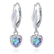 2.14 Ct Heart Shape Mercury Mist Mystic Topaz 925 Sterling Silver Earrings