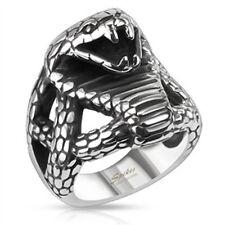 Cobra anillo serpiente de acero inoxidable macizo Biker Gothic plata señores hombres