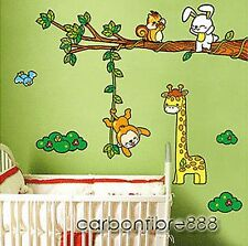 Giraffe Monkey Rabbit&Tree Reusable Wall Stickers Children/Kids Bedroom Nursery