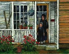 "Giclee Print Oil Painting,""Amish Sisters""young girls country home fine art paper"