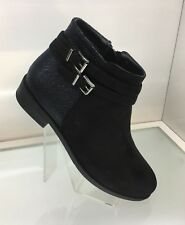 LADIES WOMENS FAUX SUEDE STYLE CHARCOAL BLACK ANKLE RIDER BOOTS LOW HEEL SIZE 6