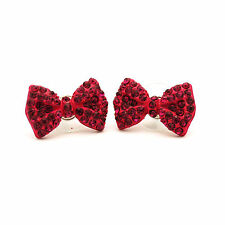 Crytal Stone Bow Ribbon Stud Earrings Jewerly in Gift Case New