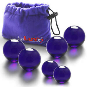 LeLuv Glass Ben-Wa Balls Classic Vaginal Exercisers with Premium Padded Pouch