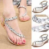 Womens Wedge Diamante Ankle Strap Summer Party Hoilday Toe Post Sandals Shoes