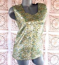 VINTAGE 60s Mod Metallic Green Gold Silver Boho Top Blouse Women's M/L