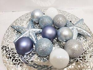 "12 Coastal Blue Silver Beach Starfish Christmas Glitter Ball Ornaments 2.5"""