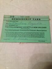 VINTAGE OLD 1937-38 MEMBERSHIP CARD THE PHILHARMONIC SOCIETY OF NEW ORLEANS