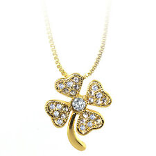 """Gold Color Shamrock Charm Pendant with White Color Crystals and 16"""" Box Chain"""
