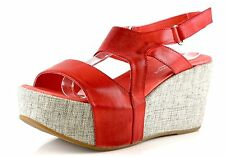 Antelope 857 Red Leather Ankle Strap Wedge Sandals 8811 Size 39 EU NEW!