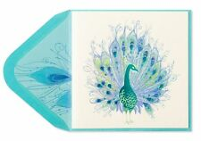 "NEW PAPYRUS GREETING CARD BLANK Gleaming Peacock Blank Card ""GORGEOUS"""
