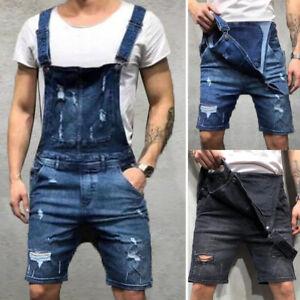 Mens Distressed Shorts Overalls Dungaree Denim Jeans Playsuit Pants Jumpsuit UK