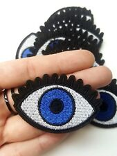 Blue Eye, Eyeball, Evil Eye Hamsa Iron-On/Sew-On Embroidered Patch, Applique