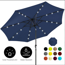 10ft Solar LED Lighted Patio Umbrella w/ Tilt Adjustment, Fade-Resistance