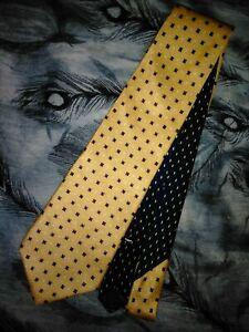 """Tommy Hilfiger 2 Tone Necktie, 56"""" X 4"""", Yellow, Navy, Geometric. SB-1"""