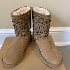 UGG Women's Size 5 FIORE Deco Studs Chestnut Suede Sheepskin Short Boots