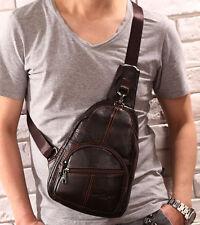 Men Genuine Leather Travel Cross Body Messenger Shoulder Sling Pack Chest Bag