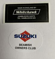 Suzuki Beamish. Mark 3. Head Stock Decal. Black Engine Model.