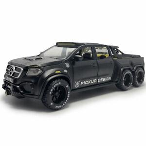 X-Class 6x6 Pickup Truck 1:28 Die Cast Modellauto Spielzeugauto Sammlung Schwarz