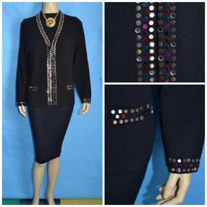ST. JOHN EVENING BLACK Suit Jacket L 12 14 Blazer Multicolor Jeweled Paillettes