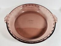 "PYREX #229 Cranberry 9 1/2"" 24 cm Fluted Pie Dish Plate"