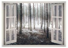 Winter Snow Forest Window 3D Wall Decal Art Mural Home Decor Canvas Vinyl W90